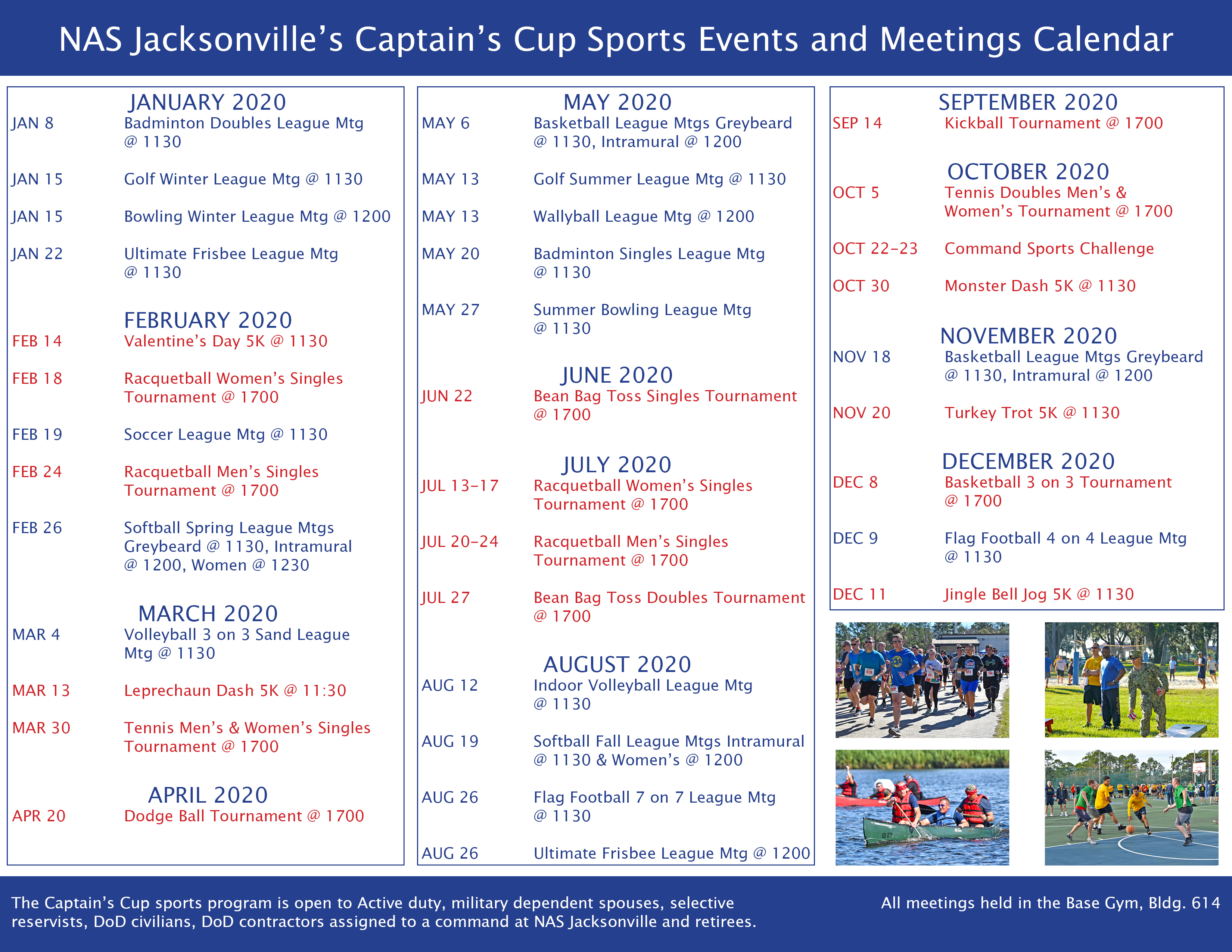 Captain's Cup Events & Meetings Calendar